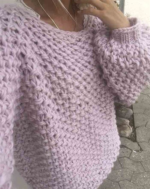 Popcorn strik  sweater - strikkekit