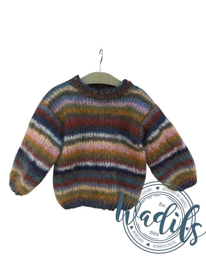 Image of   Strikkeopskrift regnbue sweater børn
