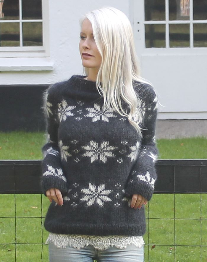 Image of   Isblomst sweater i kidmohair strikkekit