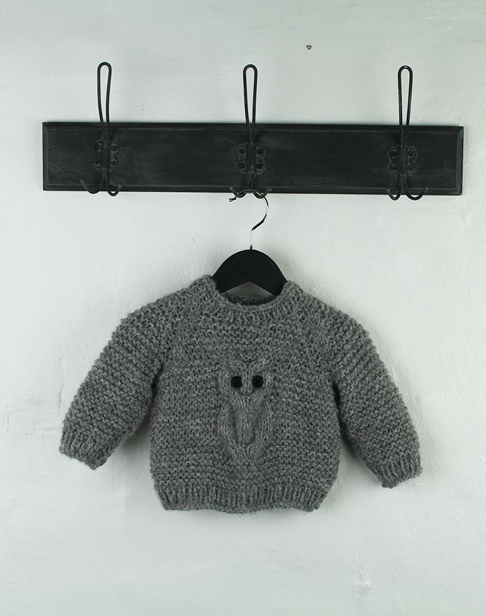Ugle sweater 1-4 år strikkekit
