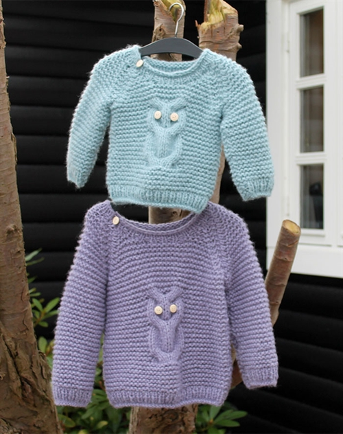 børne strik sweater med ugle by Mother of two