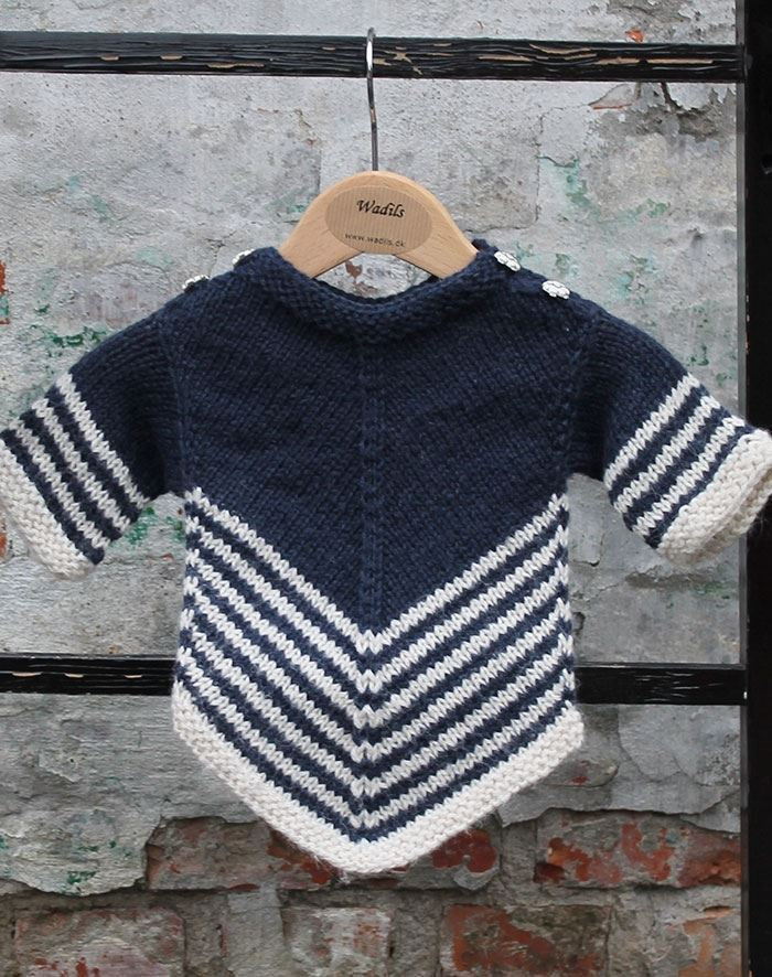 Image of   Strikkeopskrift vandfald sweater baby