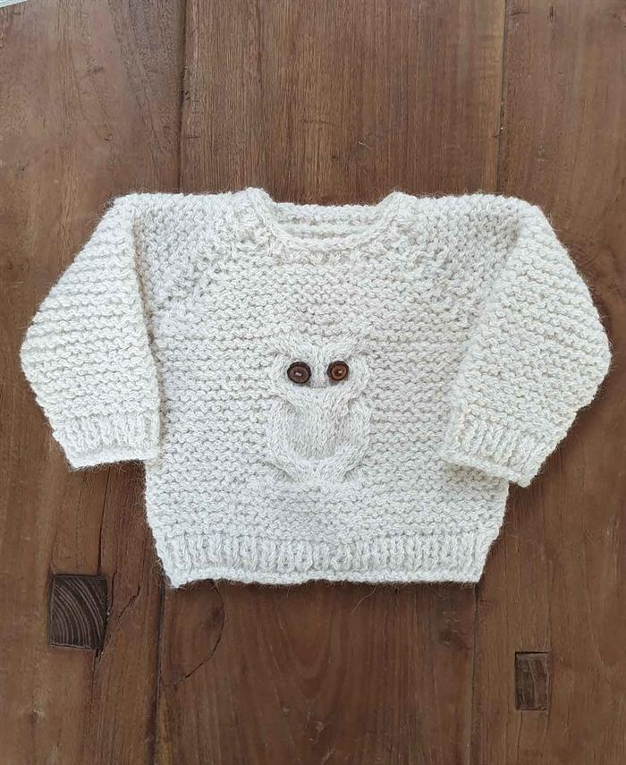 Image of   Baby ugle bluse - strikkekit